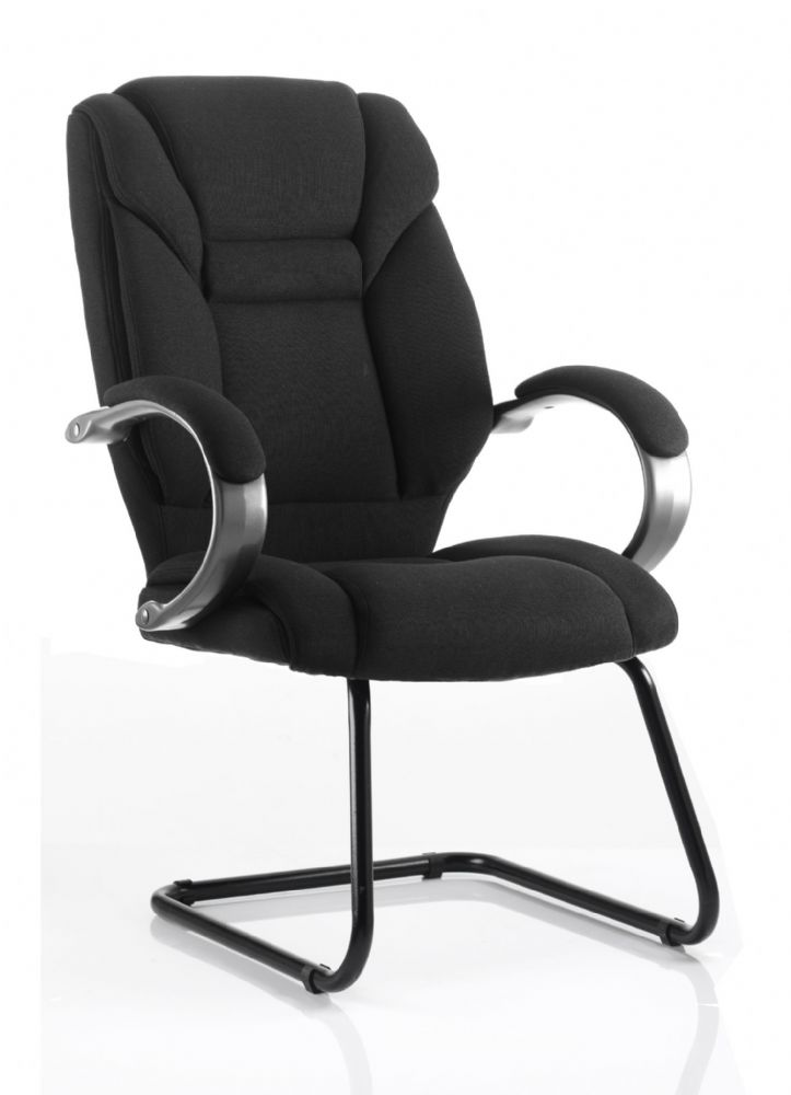 Galloway Cantilever Visitors Chair High Back Black Frame Padded Arms Black or Blue Fabric